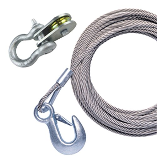 (Powerwinch 50 x 7/32 Stainless Steel Universal Premium Replacement Galvanized Cable w/Pulley Block Marine , Boating Equipment )