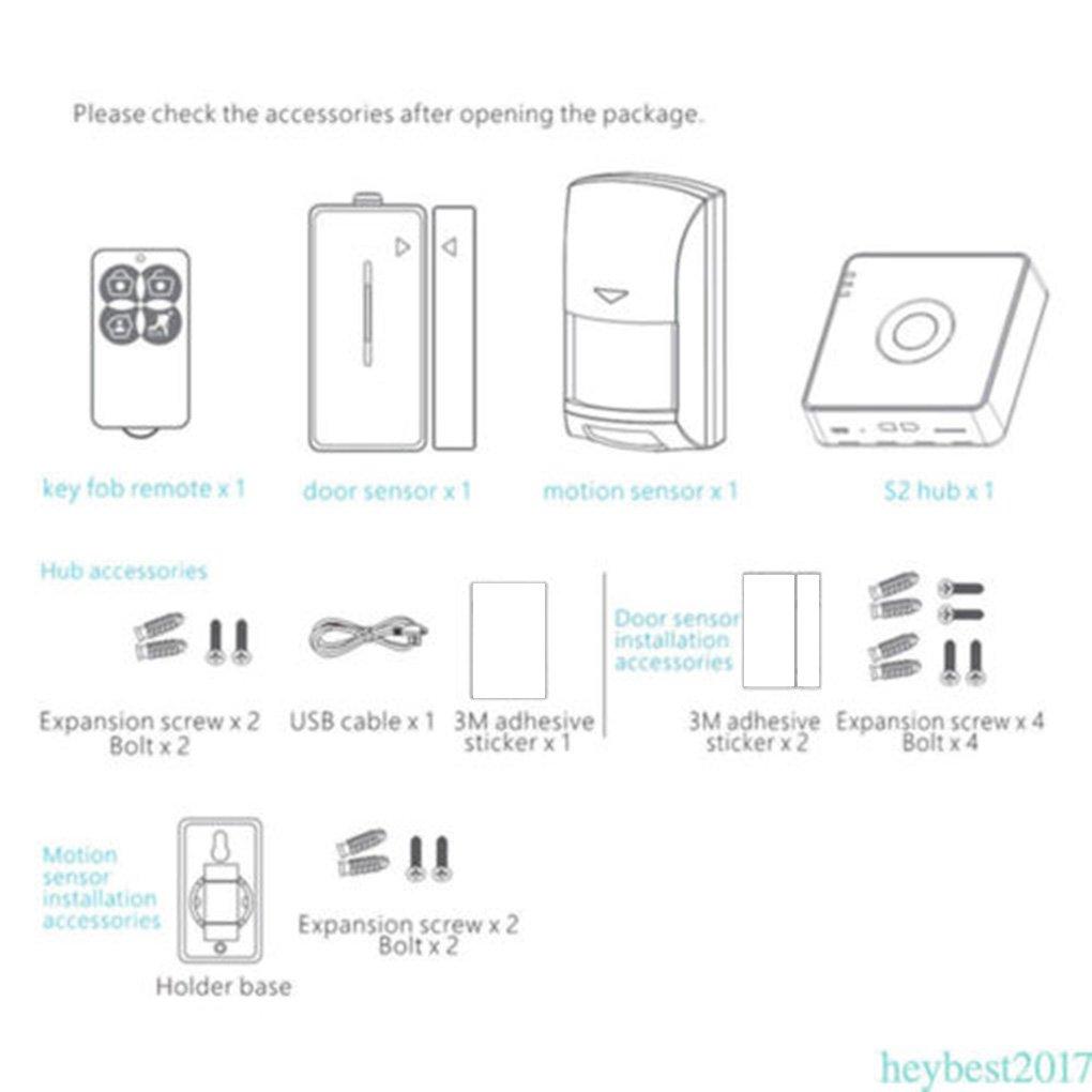 Broadlink S2 Hub Kit Detector de alarma de seguridad 433HMz Sensor de puerta de movimiento de control remoto para la automatización del hogar: Amazon.es: ...