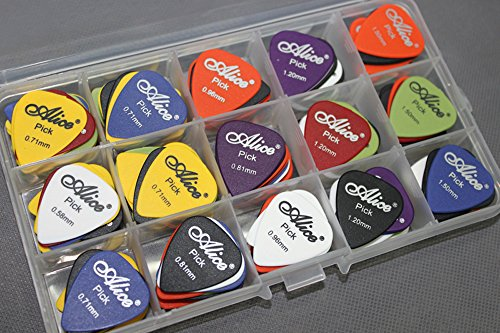 100pcs Acoustic Electric Guitar Picks Plectrum Various Colors 6 thickness 0.58/0.71/0.81/0.96/1.20/1.50 mm + Pick Box