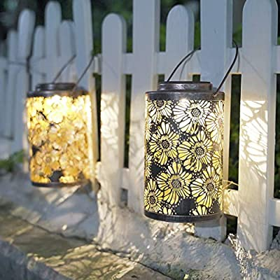 Solar Lanterns Outdoor Hanging - Garden Solar Lights Metal Outdoor Lantern 2 Pack Decorative Garden Table Lights Solar Powered SUNWIND 2 Pack for Porch, Patio, Home (Chrysanthemum): Home Improvement
