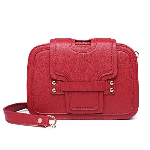Miss LuLu Crossbody Tasche Casual Schulertasche Kettetasche Tote Bag Clutches Damentasche Shopper PU-Leder Klein (E6711-Rosa)