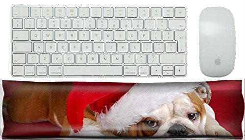 Bulldogs Pillow Santa (MSD Keyboard Wrist Rest Pad Office Decor Wrist Supporter Pillow IMAGE ID: 8228208 english bulldog wearing santa hat on red background)