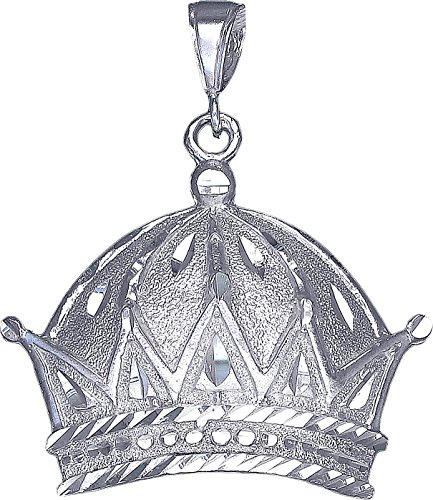 Sterling Silver Crown Charm Pendant Necklace Diamond Cut Finish with Chain (With 24'' Sterling Silver Figaro Chain) by eJewelryPlus