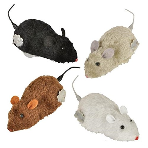 Aryellys 4 Pack Wind up Funny Mouse Cat Toy, Prank or Joke 4 Colors