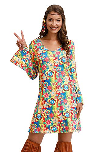Dress Like Hippie Halloween (Womens Hippie Costume Dress 60S 70S Costume Retro Halloween Groovy Dress Rainbow)