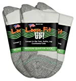 Loose Fit Stays Up Women's and Men's Quarter Socks 3 Pack (Medium, White)