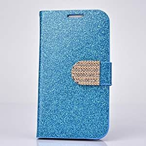 WQQ Fashion PU Leather Diamond Full Body Case with Stand for SAMSUNG GALAXY S4 I9500(Assorted Colors) , Blue