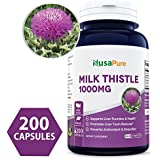 Best Milk Thistle Supplement 1000mg - 200 Capsules (Non-GMO & Gluten Free) Max Strength Extract 4:1 Milk Thistle Seed Powder Herb Pills, 1000 mg Silymarin Extract for Liver Support, Cleanse, Detox