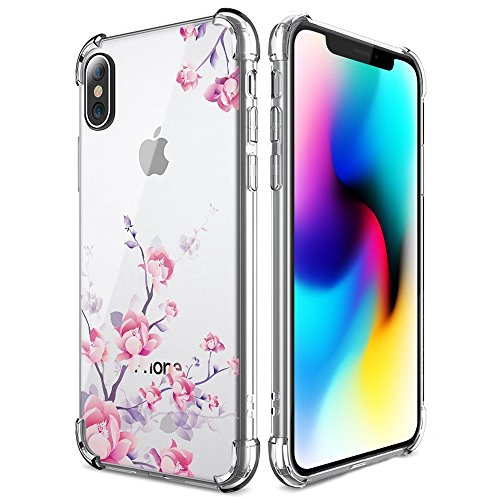 SUPVIN Girls Slim Floral Flower Protective Case Cute Ultra Thin Clear Crystal with TPU Bumper Air Cushion Phone Cover Compatible for iPhone X/iPhone 10 5.8 inch(Purple)