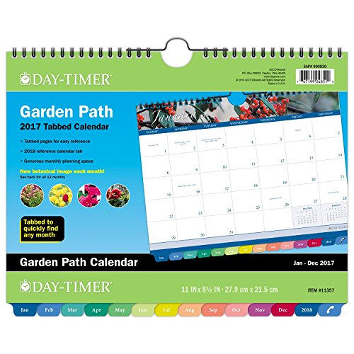 "Day-Timer Wall Calendar 2017, Monthly, Tabbed, 11 x 8-1/2"", Wirebound, Garden Path (11357)"
