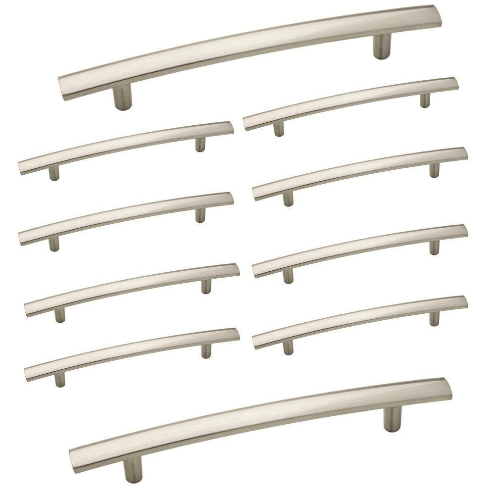 "Aviano 10 Pack Modern Curved Subtle Arch Cabinet Handle Pull, Overall Length: 7-13/16"" with 5"" Hole Centers - Satin Nickel Finish"