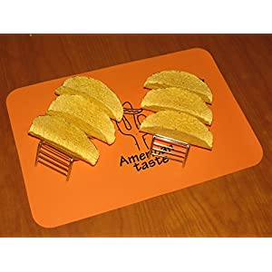 2 Taco Holders Rack Silicone Mat by AT - Best Stainless Steel Taco Rack Tray - Grill, Oven and Dishwasher Safe Taco Shell Stand - Silicone Nonstick Baking Orange Mat - Exclusive Taco Recipes e-Book