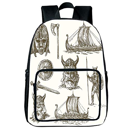 Strong Durability Square Front Bag Backpack,Viking,Ancient War Figures Sword Shield and Warriors Mask Dragon Head Ship Medieval,Dark Brown White,for Children,Personalized Design.15.7