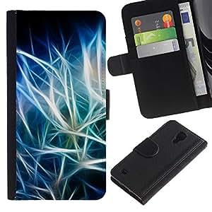 KingStore / Leather Etui en cuir / Samsung Galaxy S4 IV I9500 / Azul Negro iridiscente