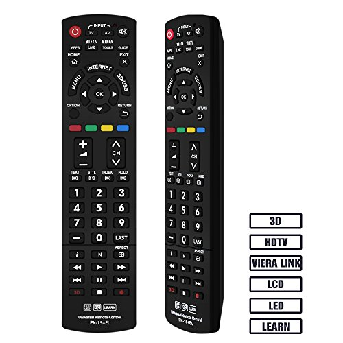 Gvirtue Universal Remote Control GPN-15 Compatible Replacement for Panasonic TV/Viera Link/HDTV/ 3D/ LCD/LED, Applicable N2QAYB000485 N2QAYB000100 N2QAYB000221 N2QAYB00048