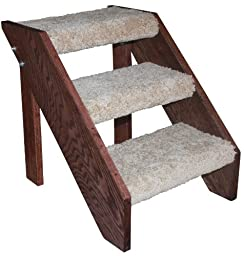 Premier Pet Steps Tall Open Riser Steps, Carpeted Tread with a Rich Cherry Stain, 17-Inch