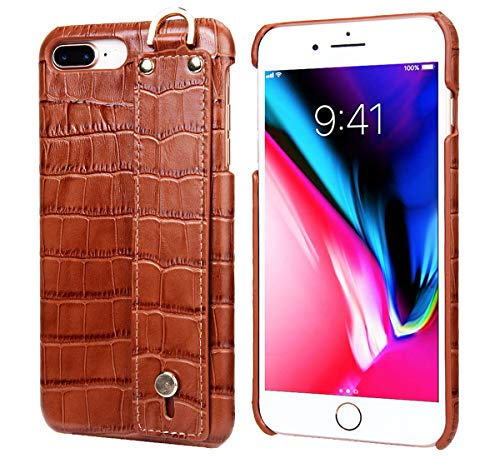 - iPhone 7 Plus/iPhone 8 Plus Leather Case, Reginn Slim Fit Phone Cover with a Hand Strap Holder [Selfie Case] Crocodile Pattern Genuine Leather Case for iPhone 7 Plus/iPhone 8 Plus (Brown)