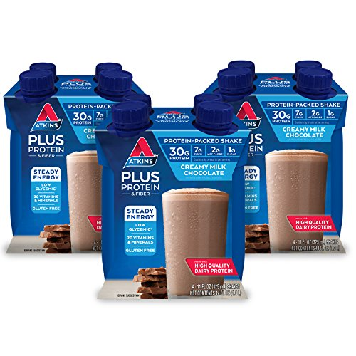 Atkins PLUS Protein & Fiber Shake, Chocolate, Keto Friendly, 11 oz., 4 Count (Pack of 3)