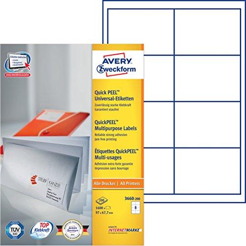 Avery Zweckform 3660-200 Universal-Etiketten (A4, Papier matt, 1,600 Etiketten, 97 x 67,7 mm) 200 Blatt weiß
