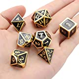 K&A Company 7Pcs Gold Dice Zinc Alloy Metal Polyhedral Role Multi-Sided D4-D20 with Bags