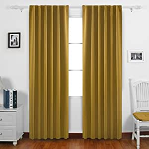 Deconovo Solid Color Rod Pocket Curtains And Drapes Room Darkening Panels Insulated