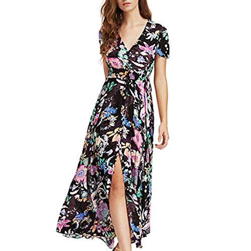 Women's Dresses Bohemian Floral V Neck Summer Short Sleeve Long Dress Button Up Split Causal Beach Party Maxi Dress Black