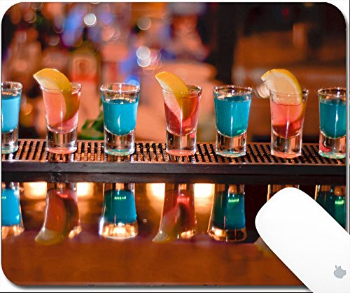 Luxlady Gaming Mousepad Row of shots on the bar tequila and blue curacao 9.25in X 7.25in IMAGE: 7989476