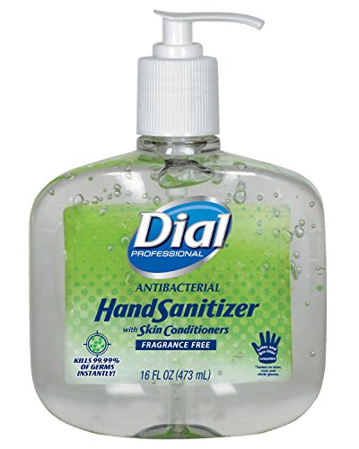 Dial 1715570 Fragrance Free Antibacterial Instant Hand Sanitizer Gel with Moisturizer and Pump, 16oz Bottle (Pack of 8) ()