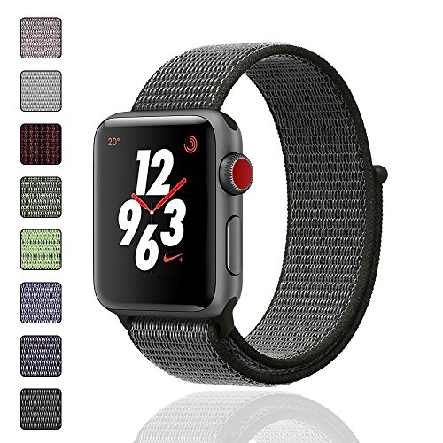iMoway Sport Loop Band Compatible for Apple Watch 38mm 42mm, Nylon Replacement Wristbands Compatible for iWatch Series 1/2/3, Nike+,Sport,Edition (Olive, 38mm)