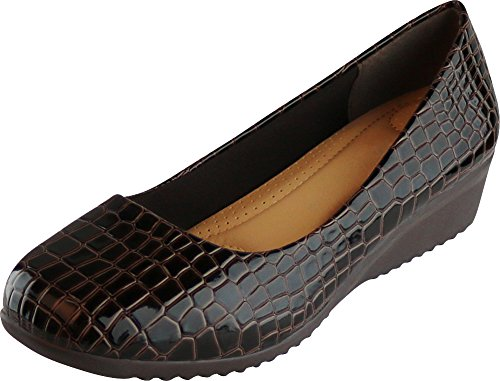 Cambridge Select Women's Slip-On Closed Toe Padded Comfort Low Wedge,8 B(M) US,Brown Croc Patent Pu ()