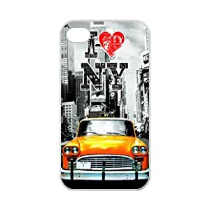 NYC New York City Taxi Pattern iPhone 4 4S Case Covers Anti-Scratch Extreme Protection Compatible with iPhone 4 4S TPU(Laser Technology)