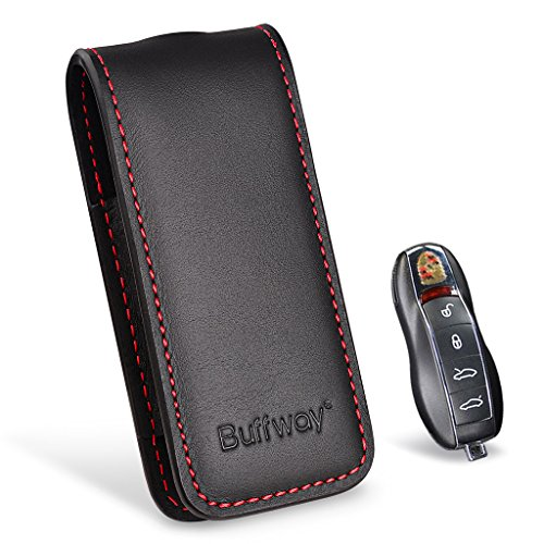 - Buffway Key Chain Case Cover Holder Shell for Porsche Cayenne Panamera Macan Key Fob with Luxury Genuine Leather - Red Line