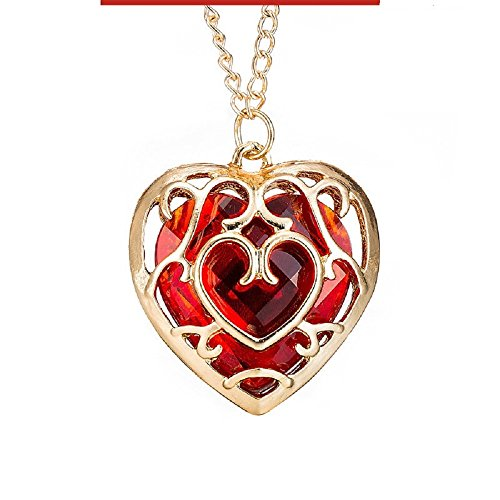 Red Heart Crystal w/ Gold Plated Cage Heart Love Necklace Gold Pendant for Women 18'