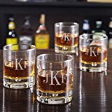 Bryne Classic Monogram Whiskey Glasses, Set of 4 (Customizable Product) For Sale