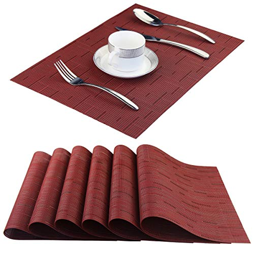 BeChen Plastic Placemats,Non Slip Washable Placemats for Dining Table Wipe Clean Table Mats Set of 6(Burgundy ()