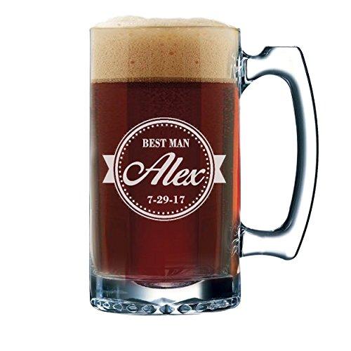 Groomsmen Beer Glasses - Engraved Personalized Custom Beer Mug Gifts - 12 oz (Baseball Style - 12 (Groomsmen Gifts Baseball)