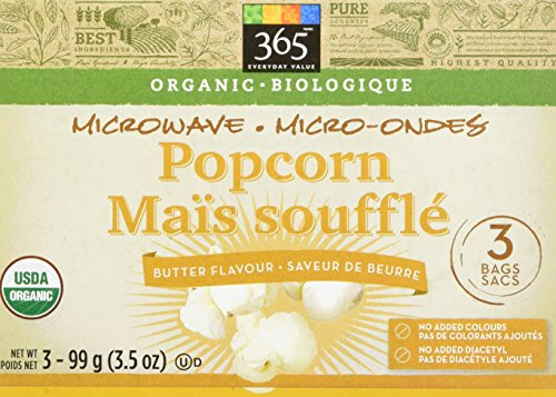 365 Everyday Value Organic Microwave Popcorn Butter Flavor, 3.5 oz, 3 Count