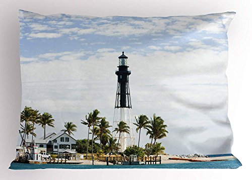 K0k2t0 United States Pillow Sham, Hillsboro Lighthouse Pompano Beach Florida Atlantic Ocean Palms Coast, Decorative Standard Queen Size Printed Pillowcase, 30 X 20 inches, Blue White Green
