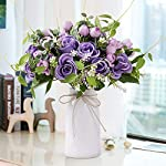 YUYAO-Artificial-Flowers-Rose-Bouquets-with-Vase-Fake-Silk-Flower-with-Ceramic-Vase-Modern-Bridal-Flowers-for-Wedding-Home-Table-Office-Party-Patio-Decoration-Purple