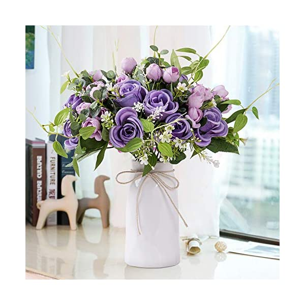 YUYAO Artificial Flowers Rose Bouquets with Vase Fake Silk Flower with Ceramic Vase Modern Bridal Flowers for Wedding Home Table Office Party Patio Decoration (Purple)