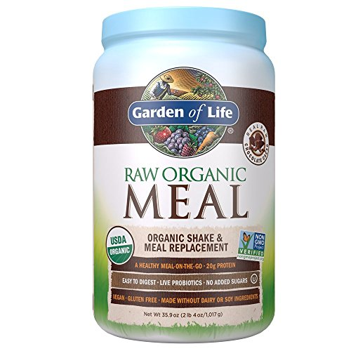 Garden of Life Meal Replacement Chocolate Powder, 28 Servings, Organic Raw Plant Based Protein Powder, Vegan, Gluten-Free (Pure Food Organic Vegan Greens Protein Bar)
