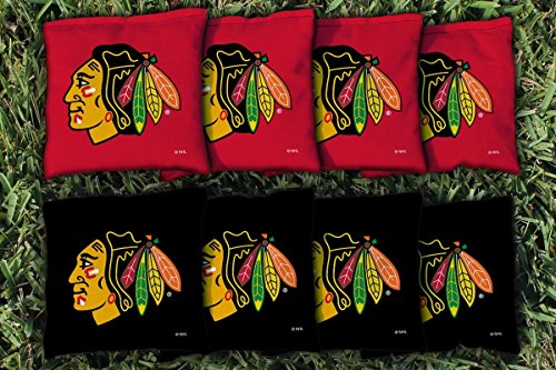 Chicago Bag Blackhawks - Victory Tailgate 8 Chicago Blackhawks NHL Cornhole Game Bag Set (8 Bags Included, Corn-Filled)