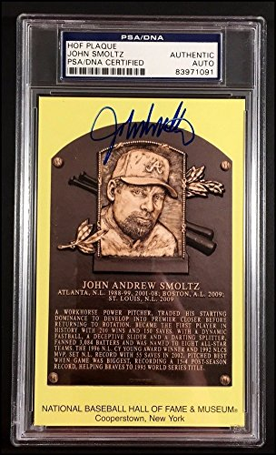 Autographed John Smoltz Signed Hall Of Fame Hall of FamePlaque Card Slabbed - PSA/DNA Certified by Sports...