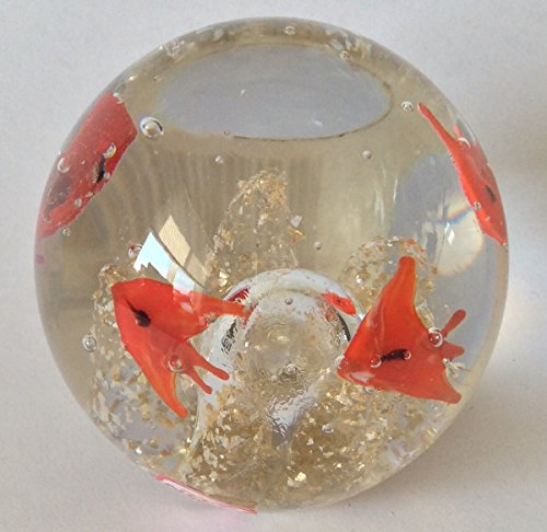 """Round Ball Glass Unusual Paperweight Art Glass 2.5"""" Gold Fish Flakes"""