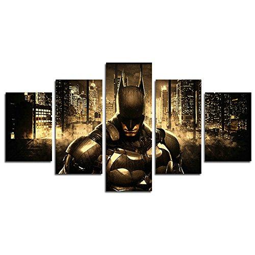 AtfArt 5 Piece Batman DC Comics Superhero painting for living room home decor Canvas art wall poster (No Frame) Unframed HB52 50 inch x30 inch ()