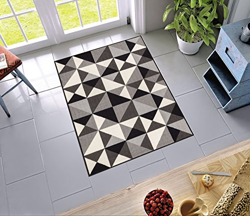 "Non-Skid / Slip Rubber Back Antibacterial 3x5 ( 3'3"" x 4'7"" ) Door Mat Rug Lex Casual Geo Grey Black White Geometric Modern Thin Low Pile Machine Washable Indoor Outdoor Kitchen Hallway Entry"