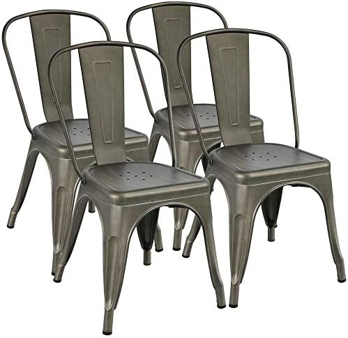 Yaheetech Iron Metal Dining Chairs Stackable Side Chairs Tolix Bar Chairs with Back Indoor-Outdoor Classic Chic Industrial Vintage Bistro Caf Trattoria Kitchen Gun Metal, Set of 4