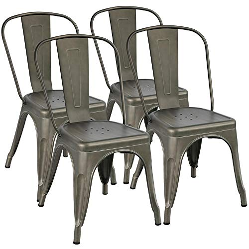 Yaheetech Iron Metal Dining Chairs Stackable Side Chairs Tolix Bar Chairs with Back Indoor-Outdoor Classic/Chic/Industrial/Vintage Bistro Café Trattoria Kitchen Gun Metal, Set of 4 (Grey Dining Chairs Metal)