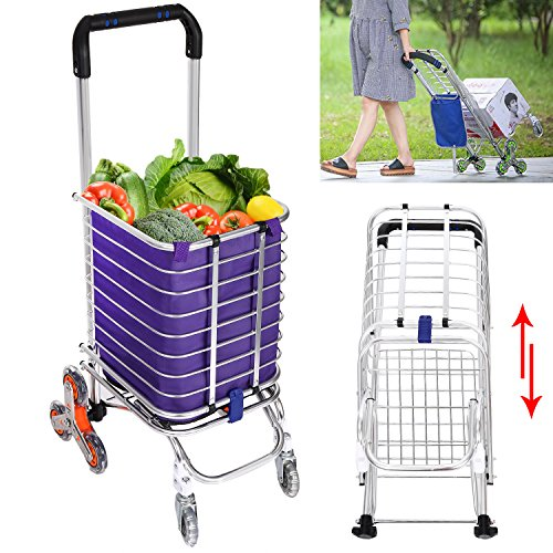 Utility Shopping Cart Collapsible Grocery Carts with Rolling Swivel Wheels for Stairs, 177 Pounds Capacity (US Stock) by shaofu