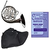 Band Directors Choice Silver Plated Double French Horn Key of F/Bb - Rubank Elementary Method Pack; Includes Intermediate French Horn, Case, Accessories & Rubank Elementary Method Book